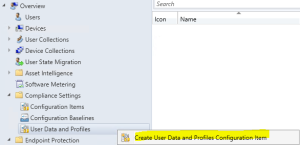 Create User Data and Profiles Configuration Item