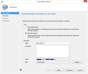 Create Report Wizard