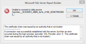 report sql connection error