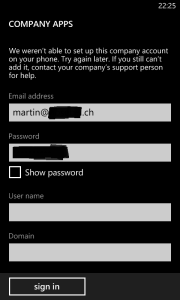 Windows Phone 8 Company App Login failed