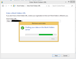 Work Folder setting up delay