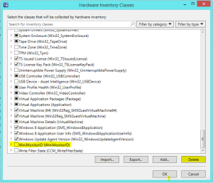 Remove WMI class from Hardware Inventory