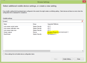 Windows Phone 8.1 Compliance rule