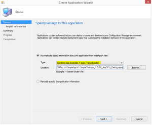 Create Application Wizard