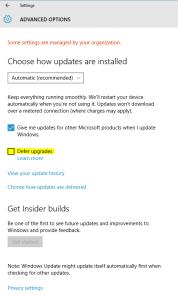 Windows 10 Defer Updates