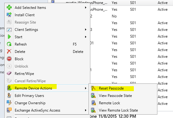 SCCM 2012 + Intune – Remote Passcode Reset on Windows Phone