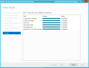 Create iSCSI Target finished